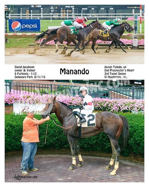 Manado winning at Delaware Park on 8/11/15