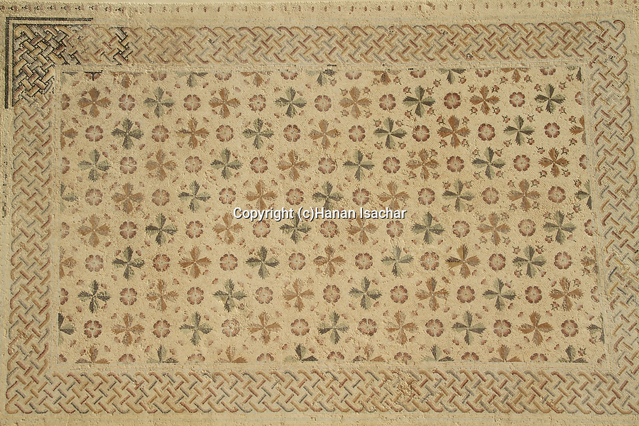Judean Desert, the museum of the Good Samaritan, mosaic floor from the Church at Khirbet Bureikut
