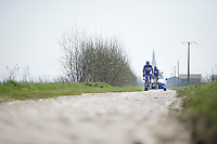 James Vanlandschoot (BEL/Wanty-Groupe Gobert) &amp; teammates over the cobbles of the Orchies sector<br /> <br /> 2015 Paris-Roubaix recon