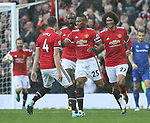 Luis Antonio Valencia of Manchester United celebrates  after scoring the opening goal during the premier league match at the Old Trafford Stadium, Manchester. Picture date 17th September 2017. Picture credit should read: Simon Bellis/Sportimage