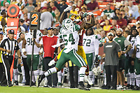 Landover, MD - August 16, 2018: New York Jets linebacker Avery Williamson (54) breaks up a pass during the preseason game between New York Jets and Washington Redskins at FedEx Field in Landover, MD.   (Photo by Elliott Brown/Media Images International)