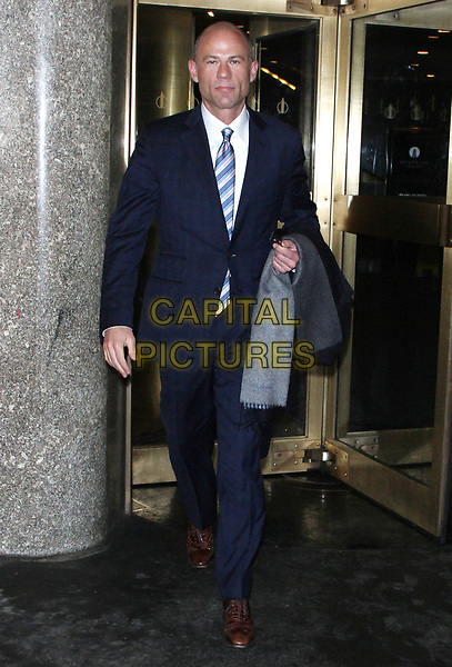 NEW YORK, NY - APRIL 4: Michael Avenatti, attorney for Stormy Daniels, seen after an appearance on Megyn Kelly Today where he discussed having Daniels' case heard publicly in court as opposed to Trump's legal team's desire to have the case heard behind closed doors. New York City. April 4, 2018.<br /> CAP/MPI/RW<br /> &copy;RW/MPI/Capital Pictures