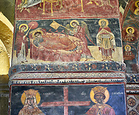 Pictures &amp; images of the interior medieval frescoes depicting the Asumption of the Virgin. The Eastern Orthodox Georgian Svetitskhoveli Cathedral (Cathedral of the Living Pillar) , Mtskheta, Georgia (country). A UNESCO World Heritage Site.<br /> <br /> Currently the second largest church building in Georgia, Svetitskhoveli Cathedral is a masterpiece of Early Medieval architecture completed in 1029 by Georgian architect Arsukisdze on an earlier site dating back toi the 4th century.