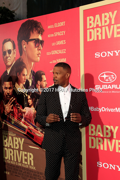 "LOS ANGELES - JUN 14:  Jamie Foxx at the ""Baby Driver"" Premiere at the The Theater at Ace Hotel on June 14, 2017 in Los Angeles, CA"