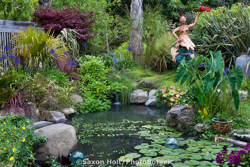 Backyard garden pond in California foliage garden with garden art; Sherry Merciari garden