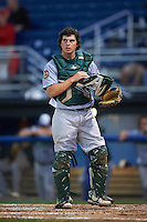 Vermont Lake Monsters catcher Jordan Devencenzi (41) during the second game of a doubleheader against the Batavia Muckdogs August 11, 2015 at Dwyer Stadium in Batavia, New York.  Batavia defeated Vermont 1-0.  (Mike Janes/Four Seam Images)