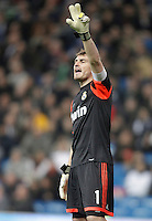 Real Madrid's Iker Casillas gestures during La Liga match. December 16, 2012. (ALTERPHOTOS/Alvaro Hernandez)