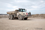 Large truck vehicle on working stone quarry, Easton, Isle of Portland, Dorset, England, UK