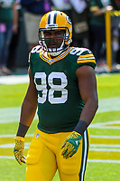 Green Bay Packers linebacker Chris Odom (98) during a National Football League game against the Seattle Seahawks on September 10, 2017 at Lambeau Field in Green Bay, Wisconsin. Green Bay defeated Seattle 17-9. (Brad Krause/Krause Sports Photography)