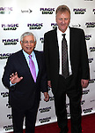 "David Stern & Larry Bird pictured at the ""Magic/Bird"" Opening Night Arrivals at the Longacre Theatre in New York City on April 11, 2012 © Walter McBride / WM Photography  Ltd."