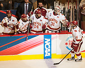 Emil Romig (DU - 18), Evan Ritt (DU - 15), Colin Staub (DU - 24) Nick Meldrum (DU - Equipment Manager), Evan Cowley (DU - 31), Jarid Lukosevicius (DU - 14) - The University of Denver Pioneers defeated the University of Minnesota Duluth Bulldogs 3-2 to win the national championship on Saturday, April 8, 2017, at the United Center in Chicago, Illinois.