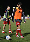 31 March 2007: New York's Clint Mathis (l) and Claudio Reyna (r) during pregame warmups.  Major League Soccer's Houston Dynamo defeated the New York Red Bulls 2-1 in a preseason game at Blackbaud Stadium on Daniel Island in Charleston, SC, as part of the Carolina Challenge Cup.