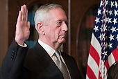United States Marine Corps General James Mattis is sworn-in as Defense Secretary by Vice President Mike Pence (not pictured), in the Vice Presidential ceremonial office in the Executive Office Building in Washington, D.C. on January 20, 2017.    <br /> Credit: Kevin Dietsch / Pool via CNP