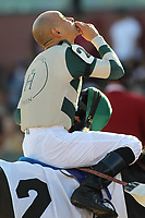 HOT SPRINGS, AR - MARCH 18: Jockey Mike Smith celebrates after winning the Essex Handicap race at Oaklawn Park on March 18, 2017 in Hot Springs, Arkansas. (Photo by Justin Manning/Eclipse Sportswire/Getty Images)