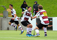 From left, George Muir, Kalyan Jeram and Matt Symonds celebrate going 5-3 up late in the 2017 National Hockey League Men's final between Auckland and North Harbour at National Hockey Stadium in Wellington, New Zealand on Sunday, 24 September 2017. Photo: Dave Lintott / lintottphoto.co.nz