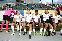 Cary, North Carolina  - Wednesday May 24, 2017: Sky Blue substitutes (from left): Caroline Casey, Erin Simon, Raquel Rodriguez, Maya Hayes, Samantha Kerr, and Taylor Lytle prior to a regular season National Women's Soccer League (NWSL) match between the North Carolina Courage and the Sky Blue FC at Sahlen's Stadium at WakeMed Soccer Park. The Courage won the game 2-0.