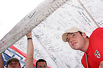 15 June 2006: England fans pull a large St. Georges Cross flag over other fans. England played Trinidad and Tobago at the Frankenstadion in Nuremberg, Germany in match 19, a Group B first round game, of the 2006 FIFA World Cup.