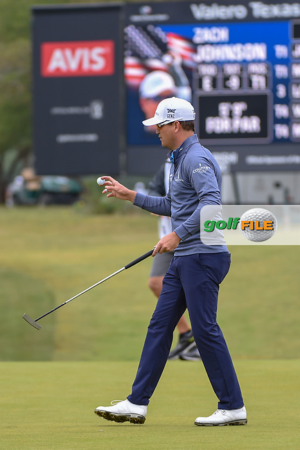 Zach Johnson (USA) after sinking his putt on 1 during Round 3 of the Valero Texas Open, AT&T Oaks Course, TPC San Antonio, San Antonio, Texas, USA. 4/21/2018.<br /> Picture: Golffile | Ken Murray<br /> <br /> <br /> All photo usage must carry mandatory copyright credit (© Golffile | Ken Murray)
