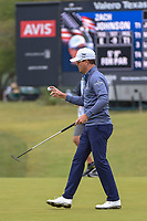 Zach Johnson (USA) after sinking his putt on 1 during Round 3 of the Valero Texas Open, AT&amp;T Oaks Course, TPC San Antonio, San Antonio, Texas, USA. 4/21/2018.<br /> Picture: Golffile | Ken Murray<br /> <br /> <br /> All photo usage must carry mandatory copyright credit (&copy; Golffile | Ken Murray)