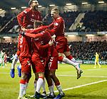20.12.2019 Hibs v Rangers: Joe Aribo celebrates his goal with Connor Goldson and Ryan Kent