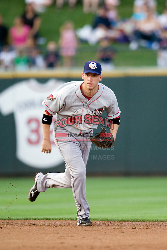 Shortstop Clint Barmes #2 of the Oklahoma City RedHawks against the Round Rock Express on April 26, 2011 at the Dell Diamond in Round Rock, Texas. (Photo by Andrew Woolley / Four Seam Images)