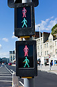 Hastings, UK. 29.09.2012.  Pelican crossing signals indicating both a red man and a green man. Walk/ Don't walk. Photo credit: Jane Hobson.