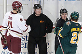 Chris Calnan (BC - 11), Terrence Murphy, Jeff Bunyon, Mario Puskarich (UVM - 21) - The visiting University of Vermont Catamounts tied the Boston College Eagles 2-2 on Saturday, February 18, 2017, Boston College's senior night at Kelley Rink in Conte Forum in Chestnut Hill, Massachusetts.Vermont and BC tied 2-2 on Saturday, February 18, 2017, Boston College's senior night at Kelley Rink in Conte Forum in Chestnut Hill, Massachusetts.