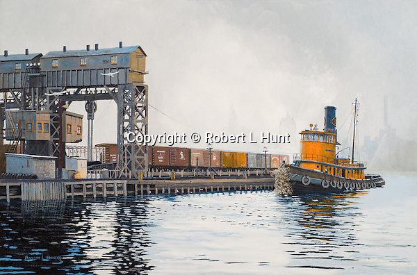 """A working tugboat from the Long Island Railroad waiting for the next car barge to ferry across the East River in New York City. Oil on canvas, 12"""" x 18""""."""