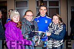 St Mary's fans at the homecoming in Cahersiveen on Sunday evening pictured here with Daniel Daly were l-r; Gráine Murphy, Sarah Landers & Nathalie O'Connor.
