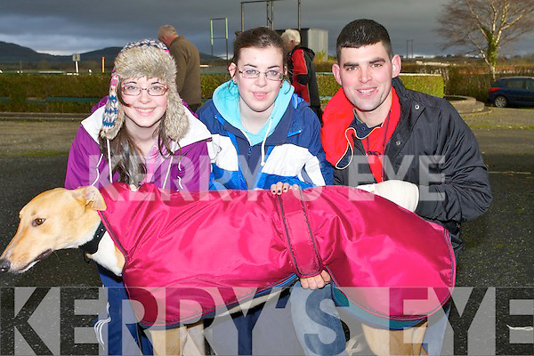 "WARM: Keeping their dog ""Carroll Carmar"" Caroline,Marie and Anthony Carroll, before the National Breeders Derby Trail Stakes"" on Monday at Ballybeggan Park  at the Kingdom Cup Meeting......."
