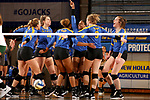 BROOKINGS, SD - OCTOBER 28: Crystal Burk #9 from South Dakota State raises her arm after the Jackrabbits score a point against North Dakota State during their match Sunday afternoon at Frost Arena in Brookings. (Photo by Dave Eggen/Inertia)
