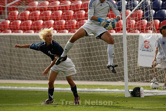 Sandy - Sandy - Brighton defeats Layton High School boys soccer 4-0, 5A state championship game  Thursday May 21, 2009 at Rio Tinto Stadium..Brighton goalkeeper Paxti Shortsleeve Layton's Alex Marietti