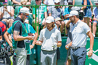 Tommy Fleetwood (ENG) and Erik Van Rooyen (RSA) on the 1st tee during the first round at the Nedbank Golf Challenge hosted by Gary Player,  Gary Player country Club, Sun City, Rustenburg, South Africa. 14/11/2019 <br /> Picture: Golffile | Tyrone Winfield<br /> <br /> <br /> All photo usage must carry mandatory copyright credit (© Golffile | Tyrone Winfield)