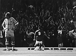Paul Wilkinson runs to join John Hendrie and the Holgate End in celebrating Hendrie's goal, Boro 2 Burnley 0, 13th August 1994. Photo by Paul Thompson