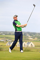 Eanna Griffin (Waterford)) on the 2nd tee during the Quarter Finals of The South of Ireland in Lahinch Golf Club on Tuesday 29th July 2014.<br /> Picture:  Thos Caffrey / www.golffile.ie