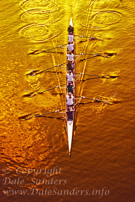 A womens eight from above