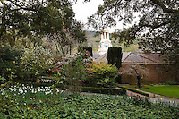 Garden Entrance with view of Clock Tower at Filoli Estate garden, Woodside California