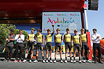 Team Jumbo Visma leading team at sign on before Stage 7 of La Vuelta 2019 running 183.2km from Onda to Mas de la Costa, Spain. 30th August 2019.<br /> Picture: Luis Angel Gomez/Photogomezsport | Cyclefile<br /> <br /> All photos usage must carry mandatory copyright credit (© Cyclefile | Luis Angel Gomez/Photogomezsport)