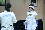 12 February 2017: UNC's Sara Elli Moreno (right) and Northwestern's Anna Tolley (left) after their Epee match. The University of North Carolina Tar Heels played the Northwestern University Wildcats at Card Gym in Durham, North Carolina in a 2017 College Women's Fencing match. UNC won the dual match 15-12 overall, 5-4 Foil, 5-4 Epee, and 5-4 Saber.