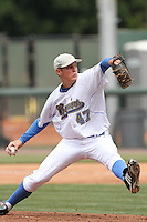 Trevor Bauer #47 of the UCLA Bruins pitches against the Cal. St. Bakersfield Roadrunners at Jackie Robinson Stadium in Los Angeles,California on May 14, 2011. Photo by Larry Goren/Four Seam Images