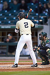 Johnny Aiello (2) of the Wake Forest Demon Deacons at bat against the Charlotte 49ers at BB&T BallPark on March 13, 2018 in Charlotte, North Carolina.  The 49ers defeated the Demon Deacons 13-1.  (Brian Westerholt/Sports On Film)