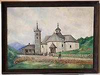 Europe/France/Rhone-Alpes/73/Savoie/Saint-Martin-de-Belleville: Chapelle Notre-Dame-de-la-Vie détail ex-voto représentant la dite chapelle