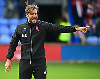 Lincoln City's assistant manager Nicky Cowley during the pre-match warm-up<br /> <br /> Photographer Andrew Vaughan/CameraSport<br /> <br /> The EFL Sky Bet League One - Macclesfield Town v Lincoln City - Saturday 15th September 2018 - Moss Rose - Macclesfield<br /> <br /> World Copyright &copy; 2018 CameraSport. All rights reserved. 43 Linden Ave. Countesthorpe. Leicester. England. LE8 5PG - Tel: +44 (0) 116 277 4147 - admin@camerasport.com - www.camerasport.com