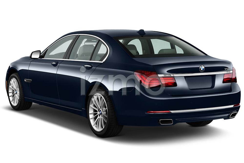 Rear three quarter view of a 2013 BMW 7-Series 750i sedan