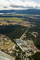 Aerial view of Franz Josef Glacier township with Lake Mapourika in  top left corner, Westland National Park, West Coast, World Heritage Area, New Zealand