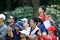 Crowds watch Xander Schauffele (USA) on the 3rd tee during the 3rd round of the WGC HSBC Champions, Sheshan Golf Club, Shanghai, China. 02/11/2019.<br /> Picture Fran Caffrey / Golffile.ie<br /> <br /> All photo usage must carry mandatory copyright credit (© Golffile | Fran Caffrey)