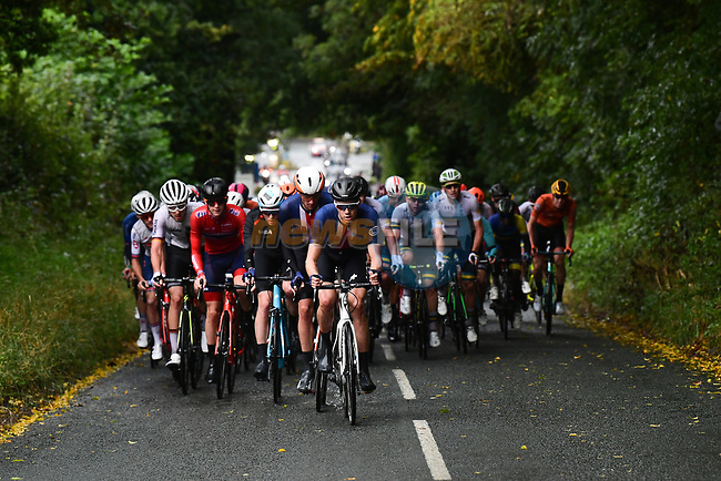 The United States of America lead the peloton during the Men U23 Road Race of the UCI World Championships 2019 running 186.9km from Doncaster to Harrogate, England. 27th September 2019.<br /> Picture: Pauline Ballet/SWpix.com | Cyclefile<br /> <br /> All photos usage must carry mandatory copyright credit (© Cyclefile | Pauline Ballet/SWpix.com)