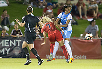 Boyds, MD - Saturday April 29, 2017: Line Sigvardsen-Jensen, Bruna Benites during a regular season National Women's Soccer League (NWSL) match between the Washington Spirit and the Houston Dash at Maureen Hendricks Field, Maryland SoccerPlex. The Dash won 1-0.