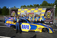 May 7, 2017; Commerce, GA, USA; NHRA funny car driver Ron Capps celebrates with crew after winning the Southern Nationals at Atlanta Dragway. Mandatory Credit: Mark J. Rebilas-USA TODAY Sports