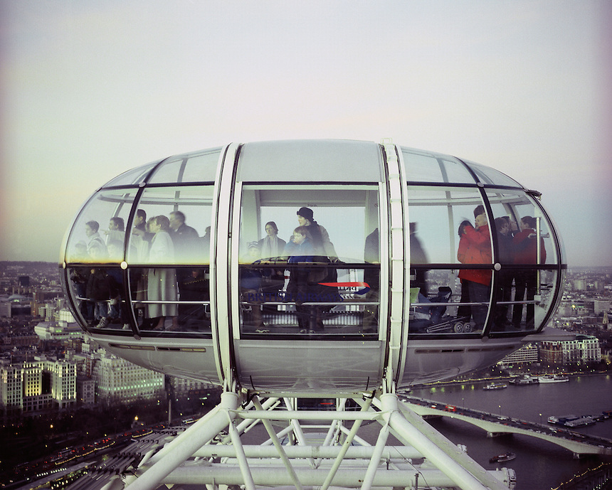A pod of the London Eye, Cross Processed, with a spectacular view of london.